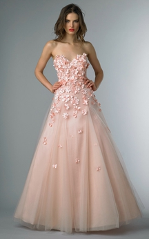 A-line Floor-length Sweetheart Sleeveless Tulle Backless Dress