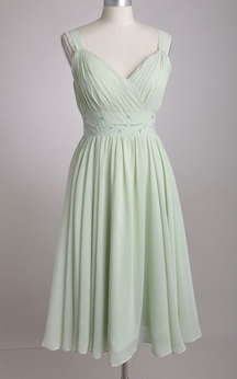 V-Neckline A-line Chiffon Bridesmaid Dress With Broad Straps