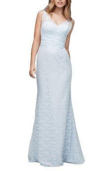 Illusion V-neck Sheath Lace Floor-length Bridesmaid Dress