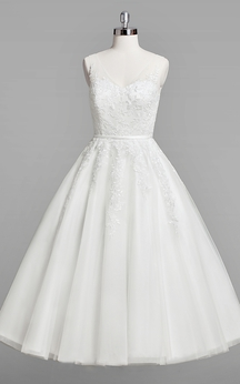 V-Neck Sleeveless A-Line Lace Tea-Length Wedding Dress