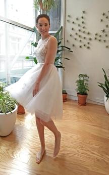 Tea Length Sleeveless Jewel Neck Organza Dress With Keyhole Back