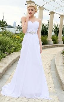 Sweetheart Sleeveless Draping Chiffon Dress