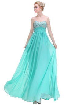 Stunning A-line Sweetheart Sequined Long Chiffon Dress
