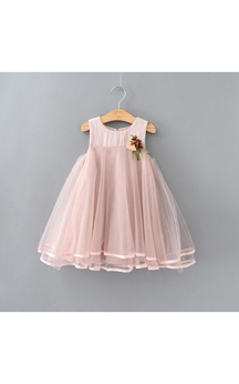 Scoop Neck Sleeveless Empire Tulle A-line Knee Length Dress With Flower