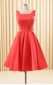 Elegant Satin Backless Bowknot Knee Length Dress
