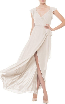 Falbala V-neck Wrap Chiffon Dress with Front Split