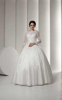 bateau neck long sleeve beading and ball gown with lace