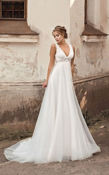 V-neck Empire A-line Chiffon Wedding Dress With Beading And Pleatings