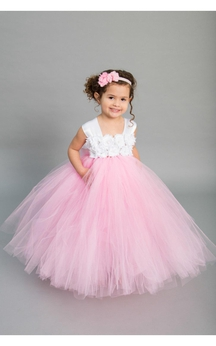 Satin Cap Sleeve Floral Bodice Empire Tulle Ball Gown With Bow Sash