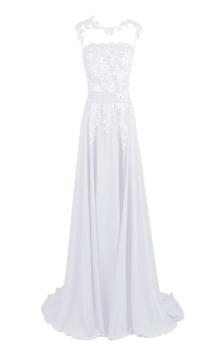 Sleeveless High Neck Appliqued Bodice Long Chiffon Dress