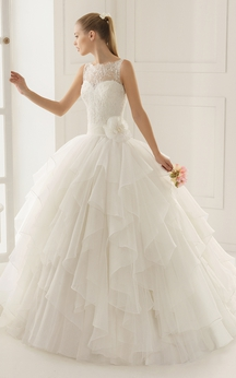 Sleeveless Illusion Back Lace Dress With Flower Sash