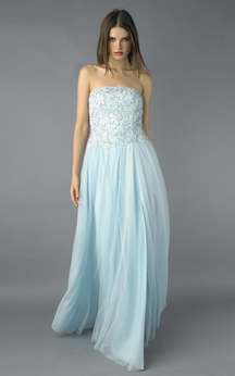 A-line Floor-length Strapless Sleeveless Tulle Zipper Dress