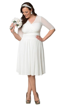 Plus Size Knee-length Gown with Half sleeves and Ruffles