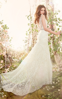 delicate v neck floor length lace gown with crystal ribbon belt