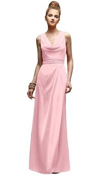 Long Sleeveless Cowl-Neck Dress With Zipper Back