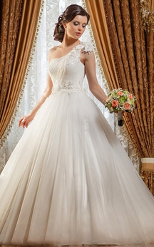 Ball Gown Long One-Shoulder Sleeveless Lace-Up Tulle Dress With Flower And Ruching