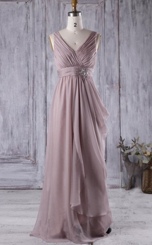V Neck V Back Draped Empire Chiffon Long Dress With Beading
