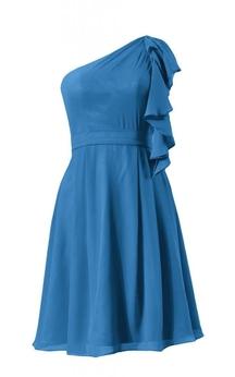 One-shoulder Drapped Sleeve Knee-length Pleated Chiffon Dress