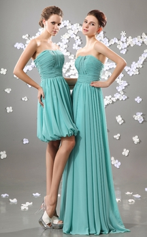 Strapless Ruching Chiffon Dress With Pleating