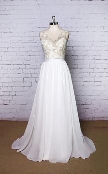 V-Neck Chiffon A-Line Sleeveless Dress With Lace Bodice and Low-V Back