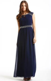 Gorgeous Long Cap-Sleeved Dress With Beadings