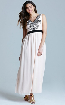 V-Neck Ankle-Length Vibrant Dress With Embroidery