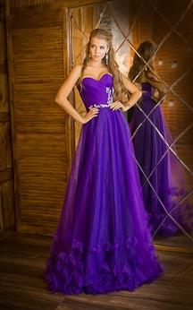 A-Line Floor-Length Sweetheart Sleeveless Tulle Ruffles Appliques Zipper Dress
