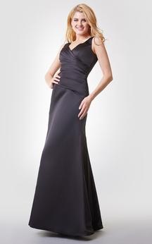 V-neck Ruched Long Chiffon Dress With V-back