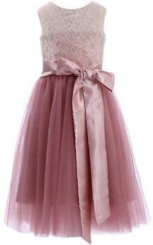 Sleeveless A-line Lace Dress With Bows and Key-hole Back
