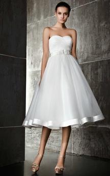 A Line Sweetheart Tea Length Dress