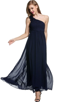 Empire Floral Single Strap Chiffon Long Dress Navy Blue
