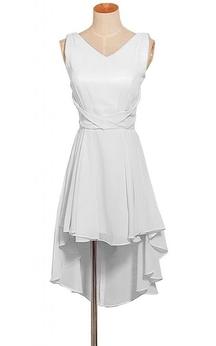 Sleeveless V-neck High-low Layered Chiffon Dress