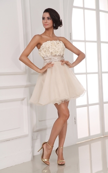 Champagne A-Line Short Dress With Flowers
