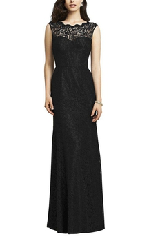 Illusion Lace Long Sheath Dress with Keyhole Back