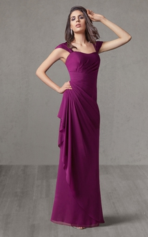 Floor Length Chiffon Bridesmaid Dress With Keyhole Back