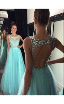 A-line Sleeveless Beading Tulle Floor-Length Floor-Length Dresses