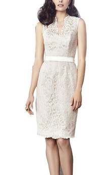 Sleeveless Sheath Lace Knee-length Dress