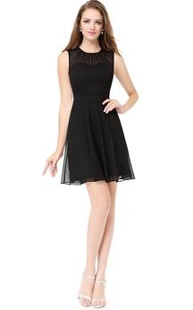 Mini Sleeveless A-line Zipper Lace Dress