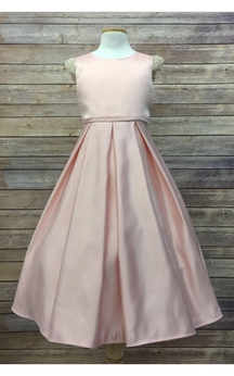 Scoop Neck Jewel Cap Sleeve A-line Satin Long Dress With Pleats