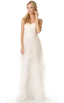 Long Sweetheart Ruffled A-line Organza Dress