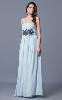 Strapless A-line Long Chiffon Dress With Appliques