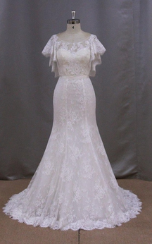 Bateau Neck Mermaid Lace Dress With Lace-Up Back and Cape