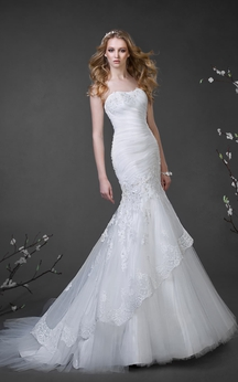 Trumpet Floor-Length Strapless Sleeveless Tulle Dress With Beading And Ruching