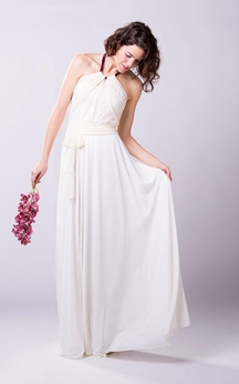 Halter Pleated A-Line Chiffon Gown With Lace Bodice