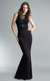 Mermaid Floor-length High Neck Sleeveless Satin Keyhole Dress