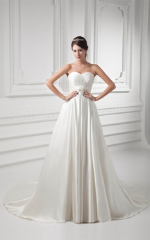 Sweetheart A-Line Criss-Cross Broach and Gown With Pleats