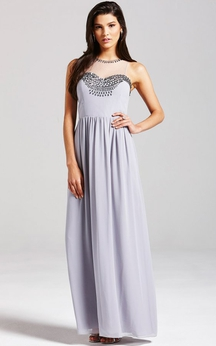 Graceful A-Line Long Dress With Has Keyhole
