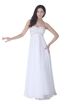 Sweetheart Long Chiffon Dress With Lace Appliques