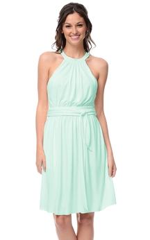 Short Sleeveless Dress With Halter Neckline