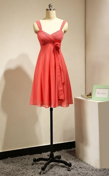 Sweetheart Empire Draped A-line Pleated Chiffon Short Dress Coral